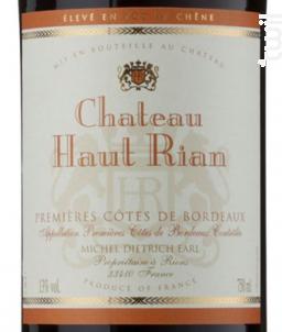 Premières Côtes de Bordeaux - Château Haut-Rian - 2014 - Rouge