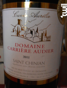 Cuvée Aurélie - DOMAINE CARRIERE AUDIER - 2016 - Rouge