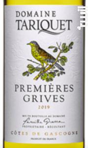 Premières Grives - Château du Tariquet - Famille Grassa - 2020 - Blanc