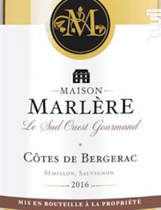 Bergerac Moelleux - Maison Marlère - 2016 - Blanc