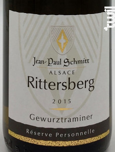 Gewurztraminer Rittersberg Réserve Personnelle - Domaine Jean-Paul Schmitt - 2015 - Blanc