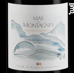 MAS DES MONTAGNES - TERROIRS D'ALTITUDE - Maison Lorgeril - 2012 - Rouge