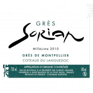 Grès Sorian - Clos Sorian - 2010 - Rouge