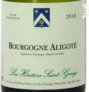 Bourgogne Aligoté - Les Héritiers Saint-Genys - 2018 - Blanc
