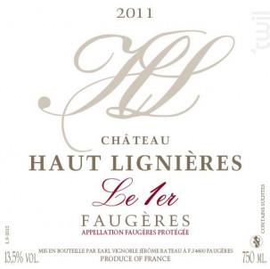 Le 1er - CHÂTEAU HAUT-LIGNIÈRES - 2017 - Rouge