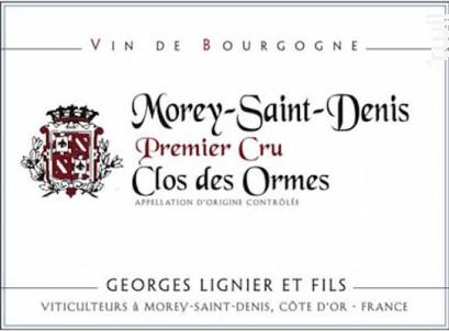 Morey-Saint-Denis Clos des Ormes Premier Cru - Georges Lignier & fils - 2014 - Rouge