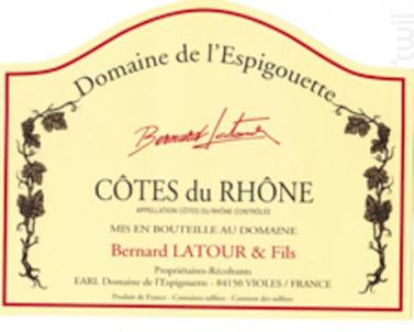 Côtes du Rhône - DOMAINE DE L'ESPIGOUETTE - 2016 - Rouge
