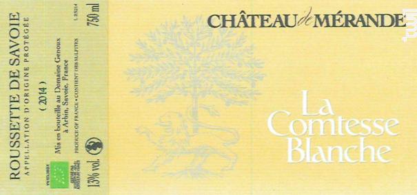 La Comtesse Blanche - Château de Mérande - 2018 - Blanc
