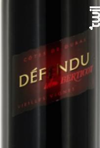 Défendu Rouge Vieilles Vignes - Berticot - 2015 - Rouge