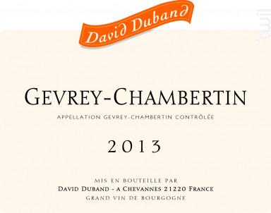 Gevrey-Chambertin - Domaine David Duband - 2016 - Rouge