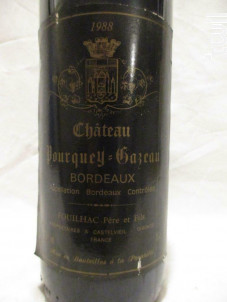Château Pourquey Gazeau - Château Pourquey Gazeau - 1988 - Rouge