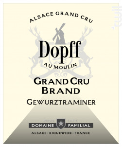 Gewurztraminer Grand Cru Brand de Turckheim - Dopff Au Moulin - 2015 - Blanc