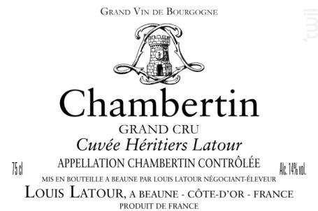Chambertin Grand Cru Cuvée des Héritiers - Maison Louis Latour - 2016 - Rouge