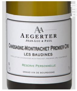 Chassagne-Montrachet 1er Cru Les Baudines - Jean Luc et Paul Aegerter - 2014 - Blanc