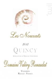 Quincy Les Nouzats - Domaine Valéry Renaudat - 2016 - Blanc