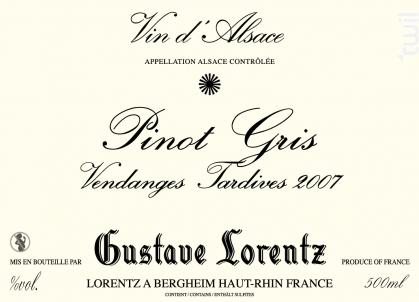 PINOT GRIS VENDANGES TARDIVES - 50cl - Gustave Lorentz - 2010 - Blanc