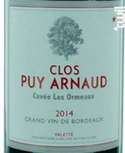 Cuvée Les Ormeaux - Clos Puy Arnaud - 2014 - Rouge