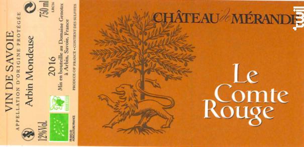 Le Comte Rouge - Château de Mérande - 2016 - Rouge