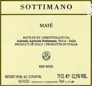 Brachetto Maté - Sottimano - 2017 - Rouge