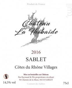 Sablet - Château La Thébaïde - 2018 - Rouge