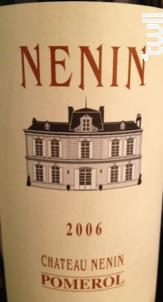 Château Nénin - Château Nénin - 2006 - Rouge