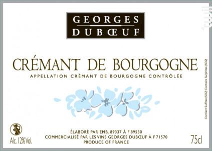 Crémant de Bourgogne - Domaine Duboeuf - Non millésimé - Effervescent