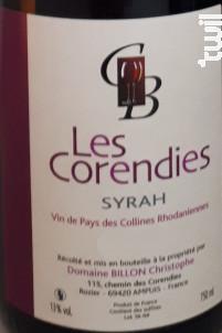 Les Corendies - Domaine Christophe Billon - 2016 - Rouge