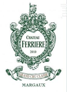Château Ferrière - Domaines Claire Villars Lurton - Château Ferrière - 2010 - Rouge