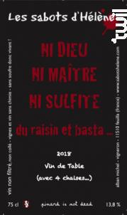 Ni Dieu Ni Maître Ni Sulfite - Les Sabots d'Hélène - 2019 - Rouge