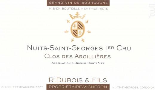 Nuits-Saint-Georges 1er Cru - Les Argillières - Domaine R. Dubois et Fils - 2013 - Rouge