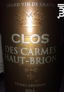Clos des carmes haut-brion - Château Les Carmes Haut-Brion - 2012 - Rouge