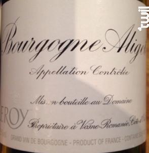 Bourgogne Aligoté - Domaine Leroy - 2014 - Blanc