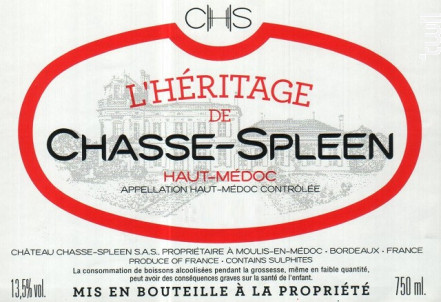 L'Héritage de Chasse-Spleen - Château Chasse-Spleen - 2015 - Rouge