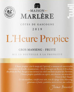 L'heure propice - Maison Marlère - 2019 - Blanc