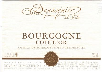 Bourgogne Côte d'Or • Pinot Noir - Domaine Dupasquier et Fils - 2019 - Rouge