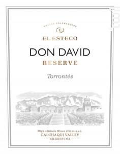 DON DAVID - TORRONTES - EL ESTECO - 2019 - Blanc