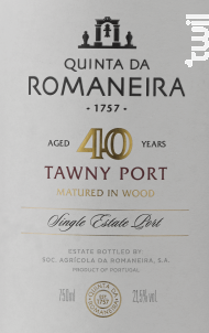40 Year Old Tawny - QUINTA DA ROMANEIRA - Non millésimé - Rouge