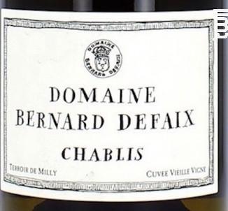 Chablis Vieille Vigne - Domaine Bernard Defaix - 2018 - Blanc