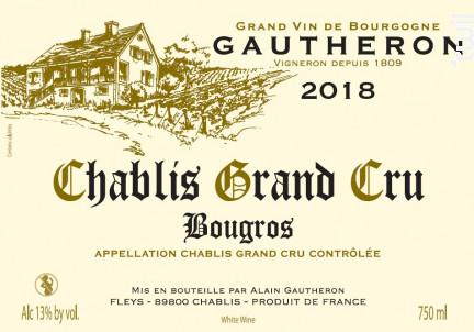 Chablis Grand Cru Bougros - Domaine Gautheron Alain et Cyril - 2018 - Blanc