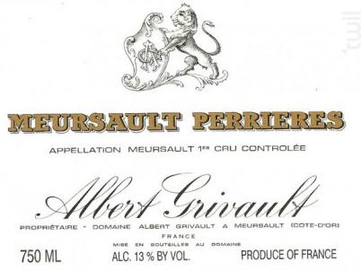 Meursault Premier Cru Les Perrières - Domaine Albert Grivault - 2013 - Blanc