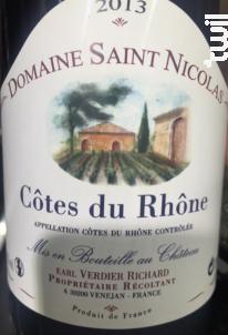 Domaine Saint Nicolas - Laudun Chusclan Vignerons - Domaine Saint Nicolas - 1994 - Rouge