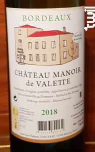 Chateau Manoir de Valette - Manoir de Valette - 2018 - Blanc