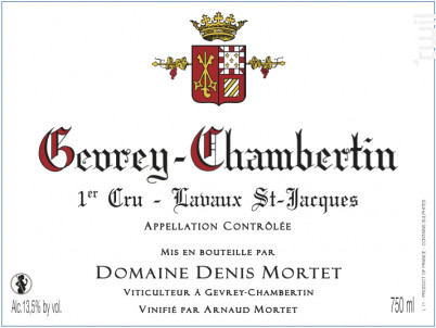 Gevrey-Chambertin 1er Cru – Lavaux St-Jacques - Domaine Denis et Arnaud Mortet - 2016 - Rouge