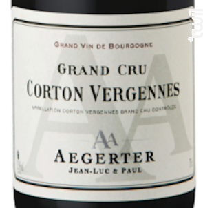 Corton Vergennes - Jean Luc et Paul Aegerter - 2016 - Rouge