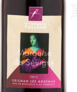 Marquise de Sévigné - Les Vignerons de Valleon - 2018 - Rouge