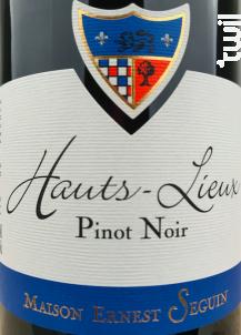 Hauts Lieux Pinot Noir - Maison Ernest Seguin - Non millésimé - Rouge