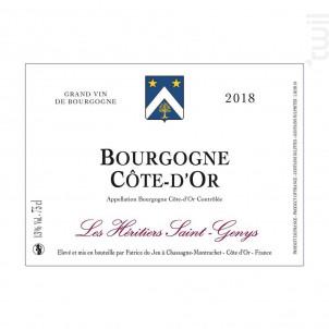 Bourgogne Côte-D'Or - Les Héritiers Saint-Genys - 2018 - Rouge