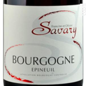 Bourgogne Epineuil - Domaine Savary - 2012 - Rouge
