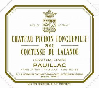 Château Pichon Longueville Comtesse de Lalande - Château Pichon Longueville Comtesse de Lalande - 2010 - Rouge