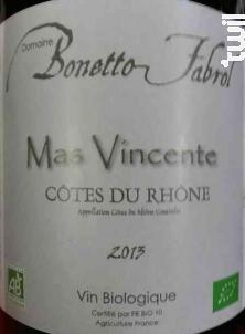 Mas Vincente - Domaine Bonetto Fabrol - 2016 - Rouge